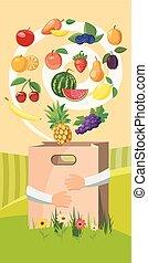 Food vertical banner, cartoon style