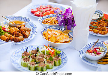 Food was prepared for the wedding dinner.