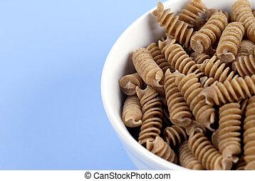 Food - Wholewheat Pasta - A bowl of wholewheat Rotini Pasta ...