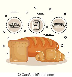 Food with carbs design - Bread slice, loaf and croissant...