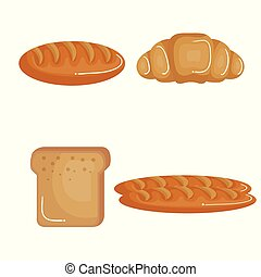 Food with carbs design - Croissant and bread slice and...