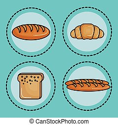 Food with carbs design - Different types of bread stickers...