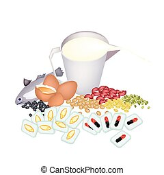 Food with Cod Liver Oil Capsules and Vitamine Capsules - ...