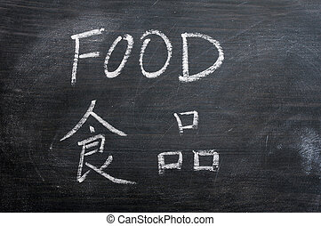 Food - word written on a smudged blackboard