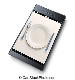 An empty plate with fork and knife on top of a smart phone