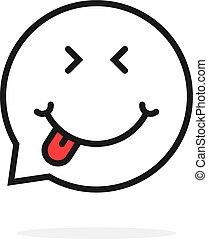 foodie, discurso, delgado, logotipo, línea, burbuja, emoji
