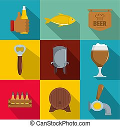 Foodie icons set, flat style