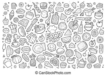 Foods doodles hand drawn sketchy vector symbols
