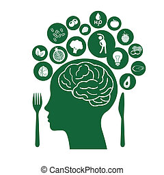 Vector of Best Food for Healthy Brain, Illustration symbolizes healthy food
