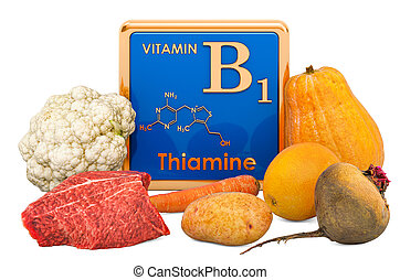 Foods Highest in Vitamin B1, Thiamin. 3D rendering isolated ...
