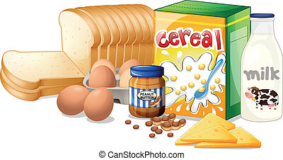 Foods ideal for breakfast - Illustration of the foods ideal...