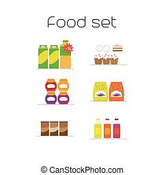 Foods market flat icons set