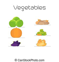 Foods market vegetables flat icons set