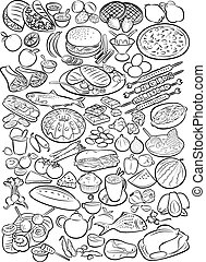 Foods - Vector illustration of food collection in line art ...