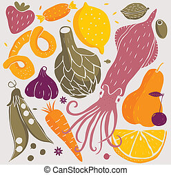 Foods - vector illustration of food or ingredients, cooking