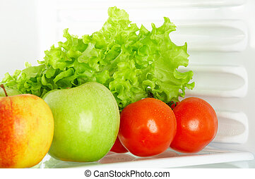 Foodstuff - Fresh vegetables and fruit in a refrigerator