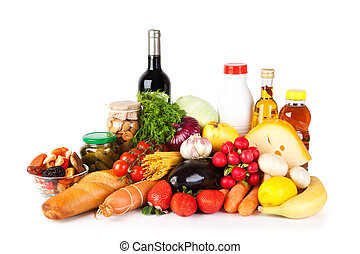 Groceries including vegetables, fruits, bakery and dairy products, wine isolated on white