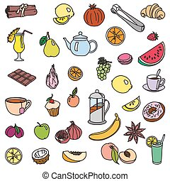 foodstuffs. fruit. vegetables. food. set of color sketches