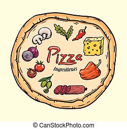 foodstuffs., ingredientes, para, pizza., cor, vetorial, ilustração, ligado, bege