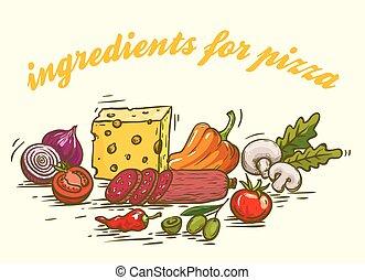 foodstuffs., ingredientes, para, pizza., jogo, de, cor, esboços, branco