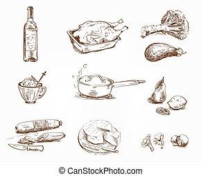 foodstuffs., jogo, de, esboços