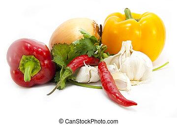 Foodstuffs on white