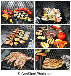 foodstuffs - grilling meat vegetables and seafood