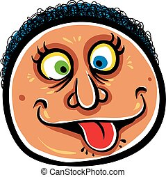 Foolish cartoon face, vector illustration.