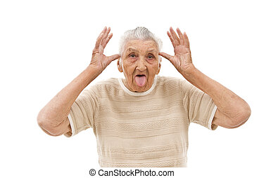 very old woman behaving like a child on an isolated background
