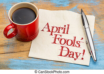 fools, -, avril, serviette, écriture, jour