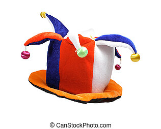 Multicoloured fool's cap with jingles on white backround
