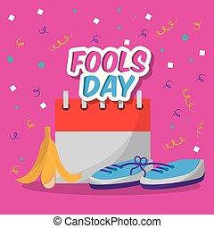 fools dar card invitation prank shoe banan peel and calendar...