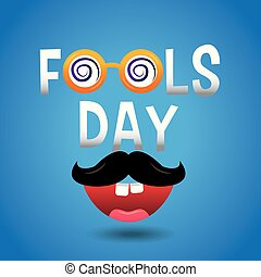 fools day celebration card mustache and mouth teeths vector ...