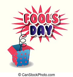 fools day celebration poster box prank image vector...