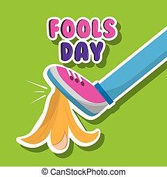 fools day funny prank leg and banana peel vector...