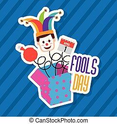 fools day greeting card - fools day jack in the box with...