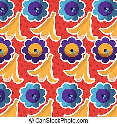 fools day joke banana peel and flower pattern design