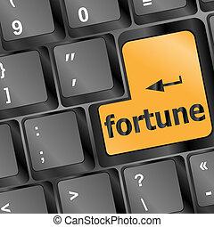foortune, voor, investering, concept, met, een, sinaasappel, knoop, op, computer toetsenbord