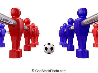 foosball, isolado, kickoff
