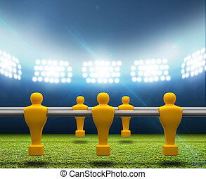 foosball, jogadores, estádio, floodlit