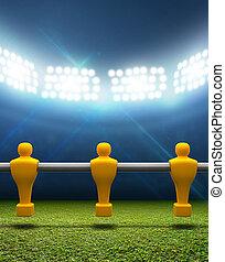 foosball, jugadores, estadio, floodlit