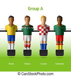 foosball mesa, fútbol, /, jugadores