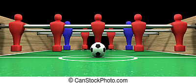 Foosball Table One Team - One half of a foosball table at...