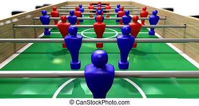 Foosball Table Perspective - A perspective view of a wooden...
