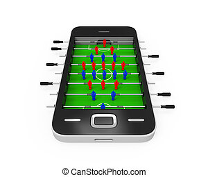 foosball table, téléphone portable
