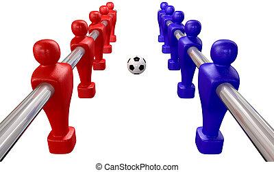 foosball, topo, isolado, kickoff