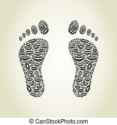 Foot a lip - Foot made of lips. A vector illustration