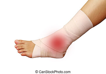 foot and ankle injury wrapped in bandage - foot and ankle...