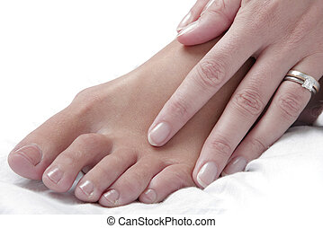 Foot and Massage Hand - Nice photo of a womans foot and hand...