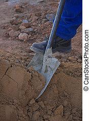 Foot and shovel